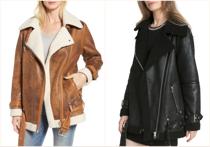 c8e0bf59aa2b AVEC LES FILLES Faux Shearling Biker Jacket, (L to R) in Whisky and Black